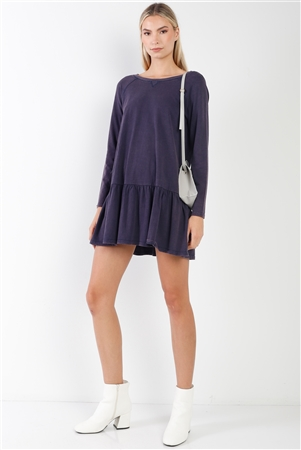 Navy Casual Shirred Hem Long Sleeve Dress