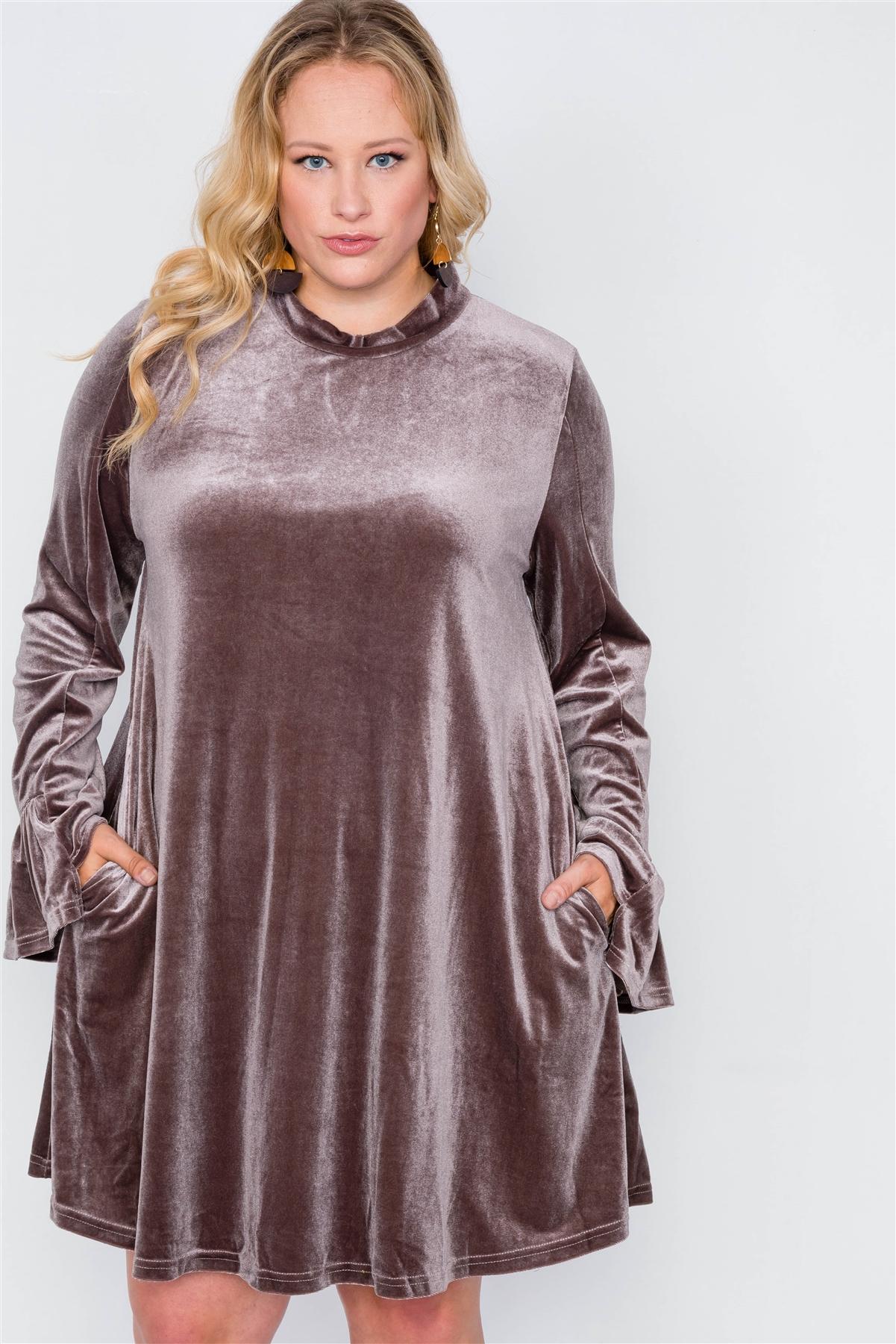 Plus Size Mocha Velvet Long Sleeve Mini Dress