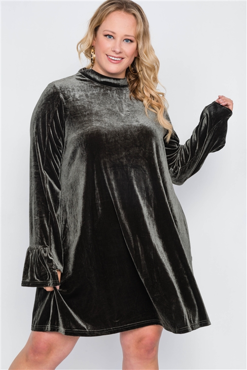 Plus Size Olive Velvet Long Sleeve Mini Dress