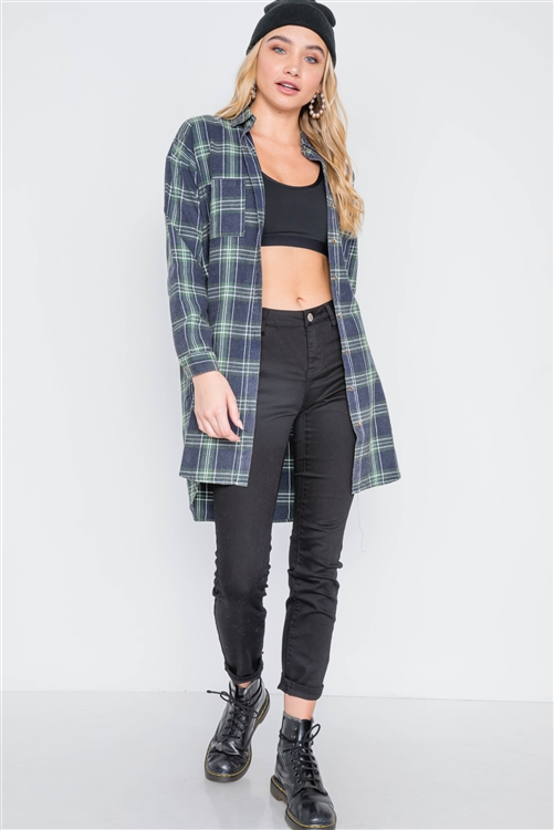 Green Plaid Button Down Long Sleeve Shirt Dress