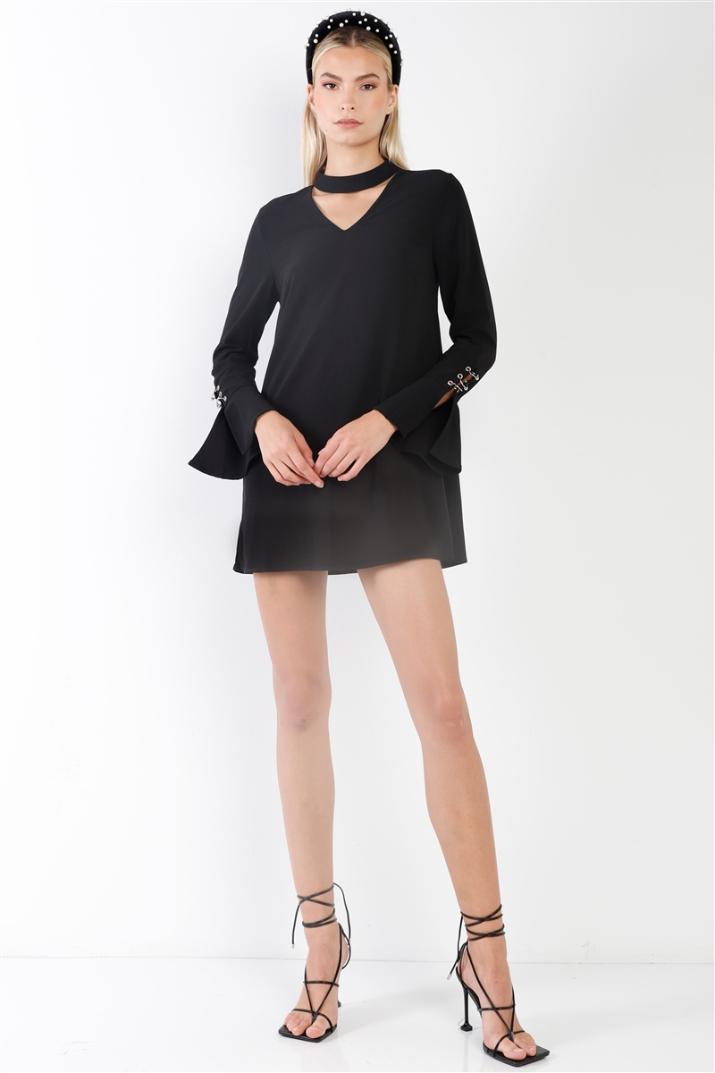 Black Long Sleeve V-Cut Out Solid Mini Dress
