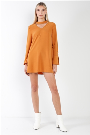 Camel Long Sleeve V-Cut Out Solid Mini Dress