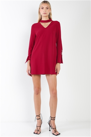 Wine Long Sleeve V-Cut Out Solid Mini Dress