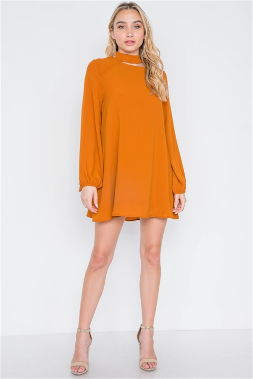 Camel Cut-Out Neck Solid Long Sleeve Dress