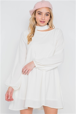 Off White Cut-Out Neck Solid Long Sleeve Dress