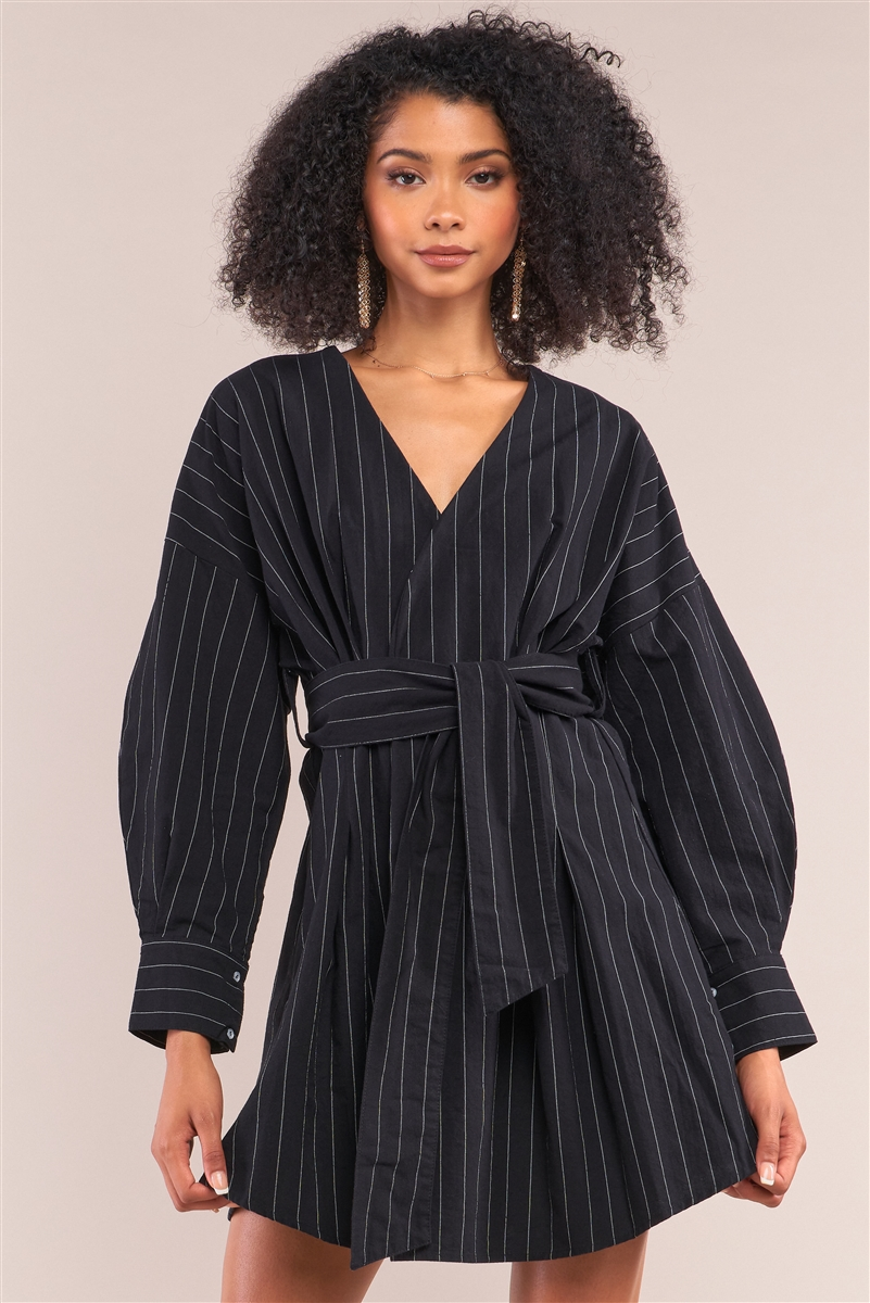 Black Pinstriped Long Puff Sleeve Surplice Neck Wrap Mini Dress /2-2-2