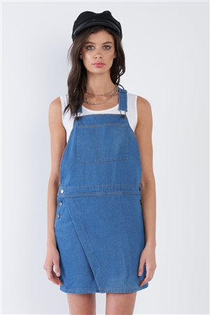 Indigo Blue Cotton Casual Denim Overall Mini Jean Dress
