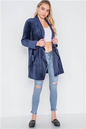 Navy Open Front Long Sleeve Soft Velvet Cardigan