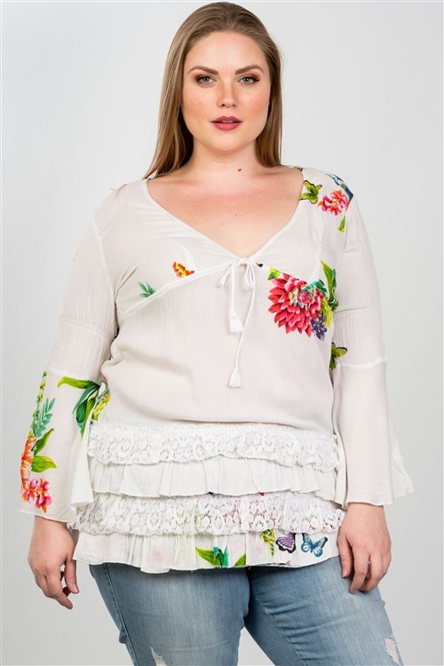 Boho White Plus Size Floral Mix Print Lace Ruffle Hem Top