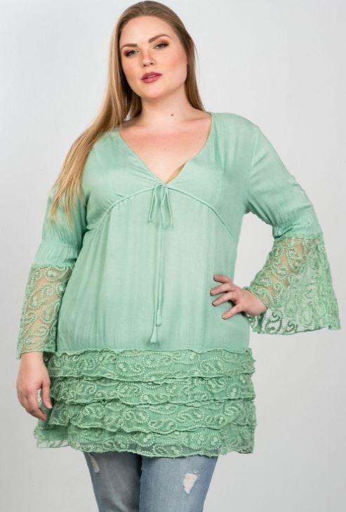 Boho Mint Plus Size Lace Hem V Neck Tunic Top /3-1