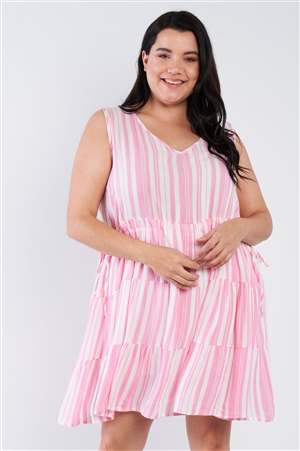 Pink Striped Plus Size Dress