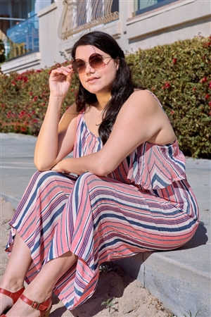 Plus Size Coral Striped Flowy Boho Jumpsuit /2-2-2