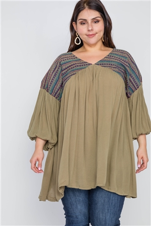 41a6b8e6358a4 Quick View this Product Plus Size Mocha Peasant Sleeve Loose Fit Boho Top