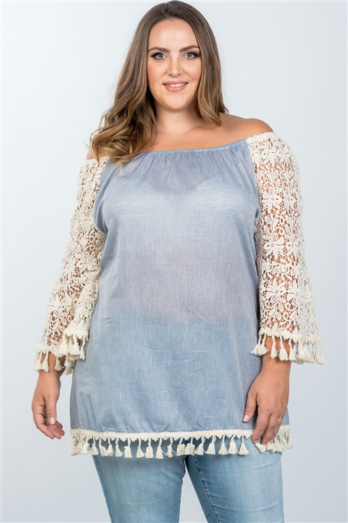 Boho Blue Plus Size Off The Shoulder Tassel Top