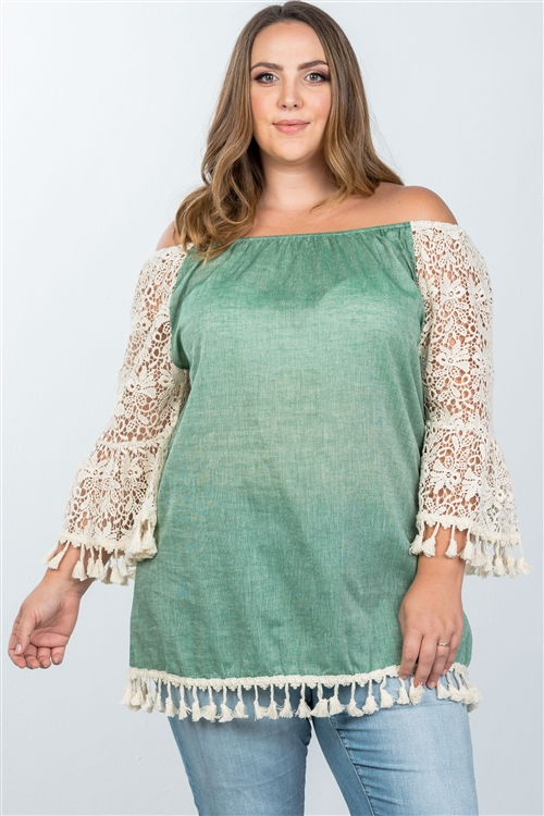 Boho Green Plus Size Off The Shoulder Tassel Top