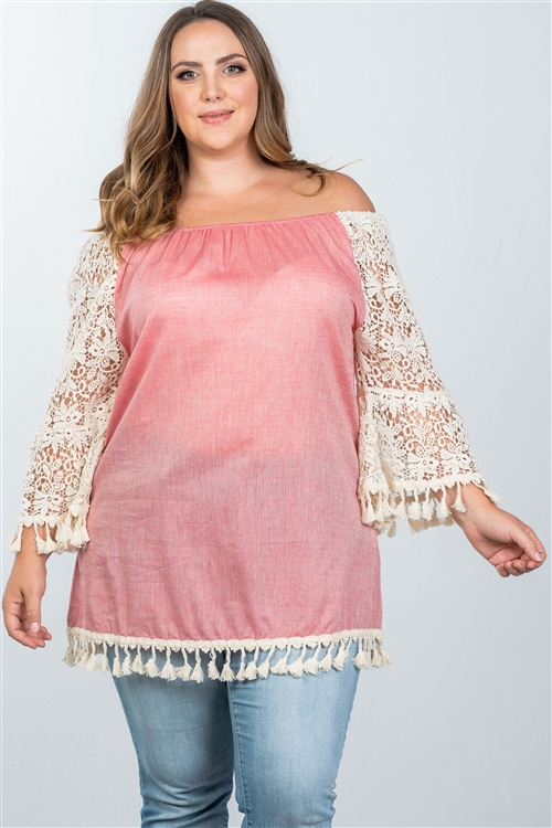 Boho Pink Plus Size Off The Shoulder Tassel Top