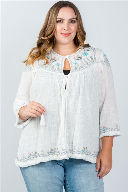 White Plus Size Embroidery Flower Tassel Cardigan