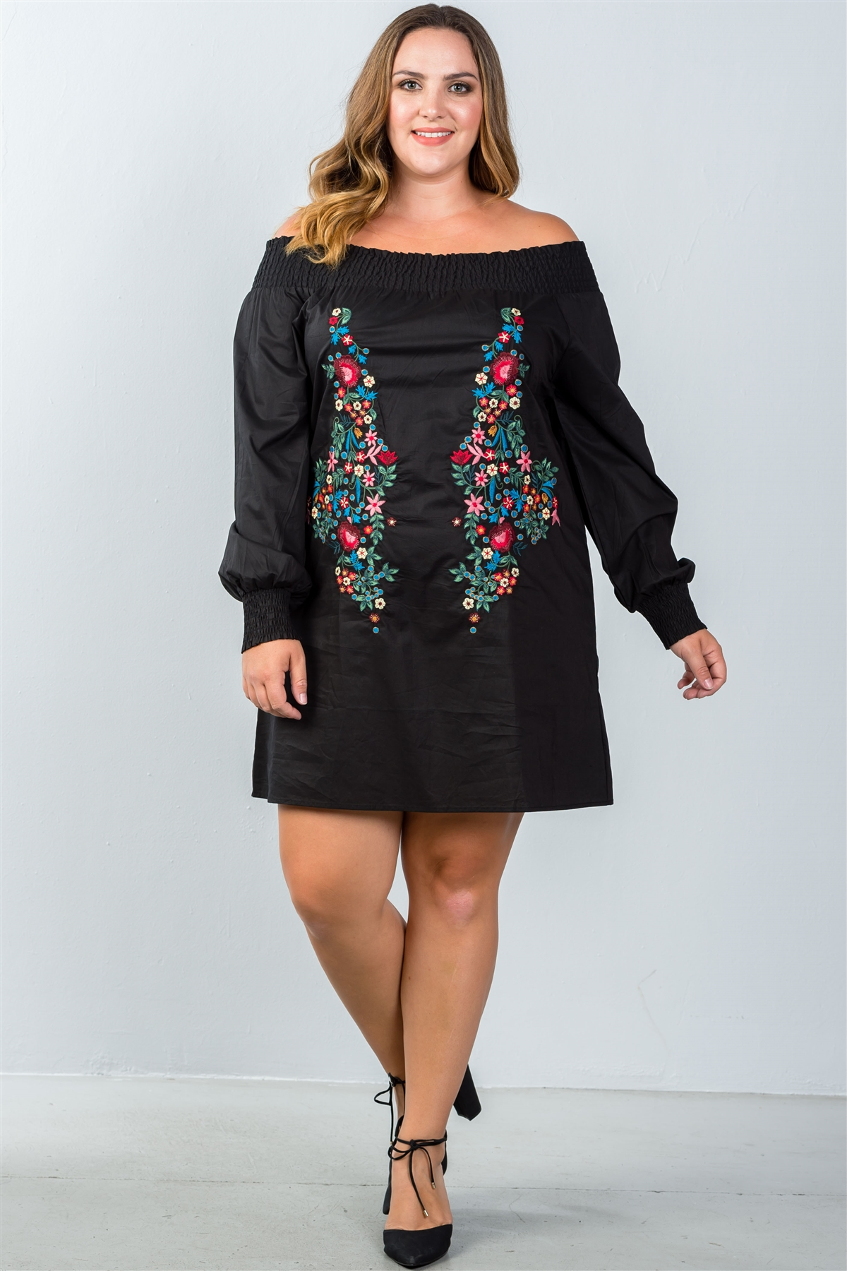 Plus Size Black Floral Embroidered Off The Shoulder Tunic Dress /2-2-2