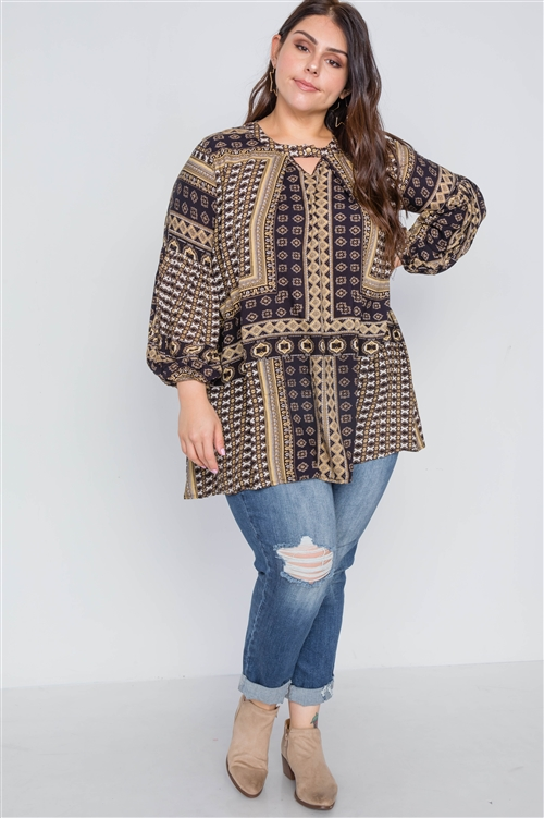 Boho Black Plus Size Swing Mix Print Tunic Top
