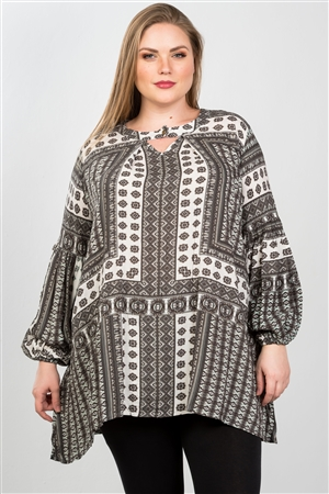 Boho Grey Plus Size Swing Mix Print Tunic Top