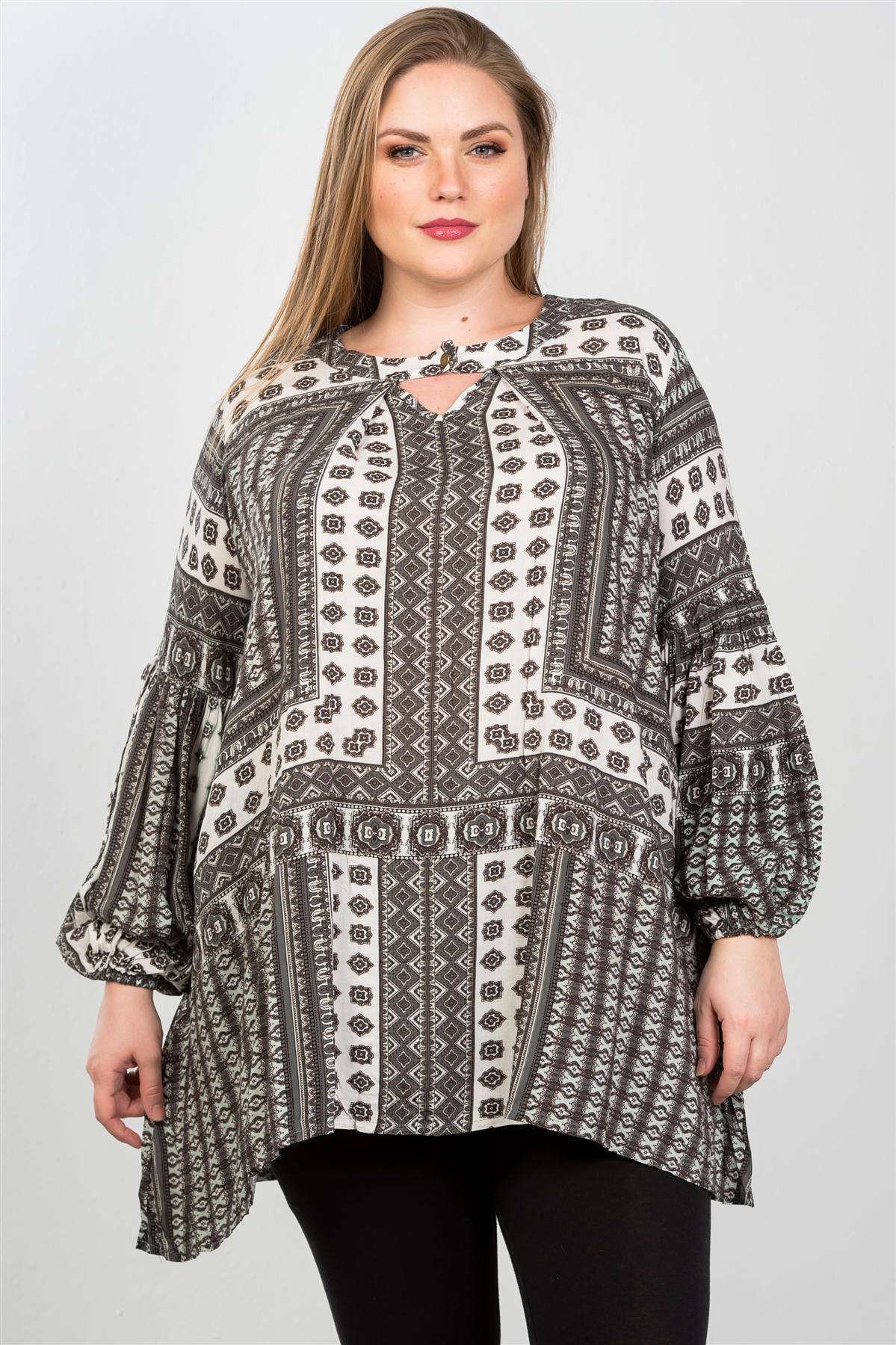 Boho Grey Plus Size Swing Mix Print Tunic Top /2-2-2