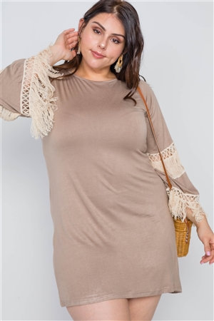 Mocha And Ivory Plus Size Crochet Mini Dress