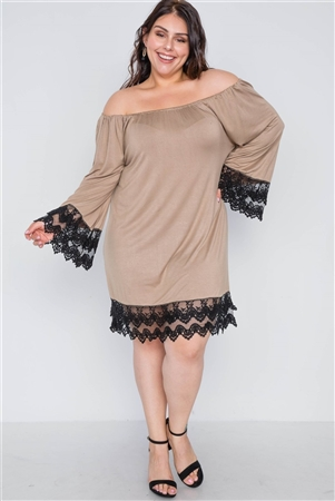 Plus Size Mocha Off-The-Shoulder Lace Hem Dress
