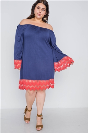 Plus Size Pink Navy Off-The-Shoulder Lace Hem Dress