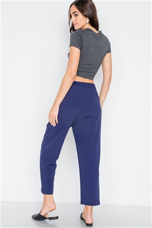 Navy Cropped Ankle Leg Pants