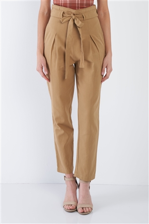 Camel Cotton Pleated Casual Ankle Boot Cut Leg Pants