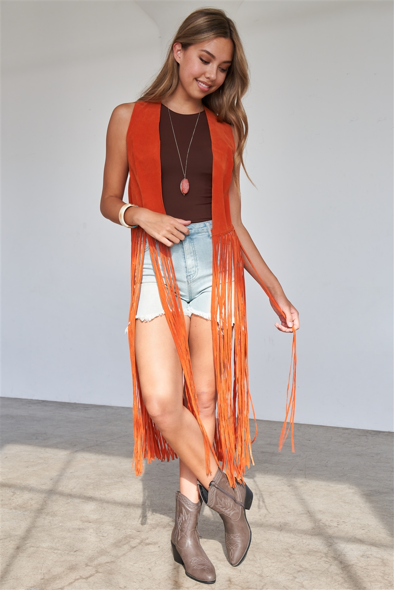 Orange Sleeveless Suede Cropped Boho Vest With Long Fringe Detail