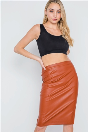Camel Vegan Leather High-Waist Midi Pencil Skirt
