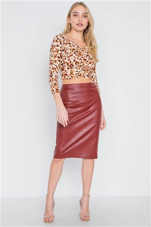Wine Vegan Leather High-Waist Midi Pencil Skirt