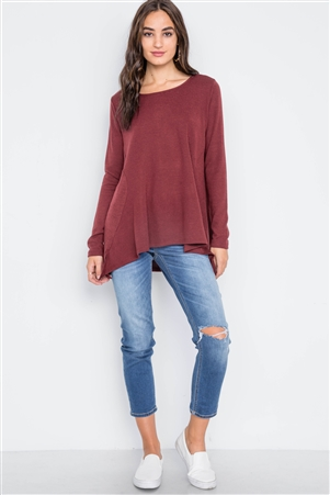 Wine Long Sleeve Loose Fit Solid Top