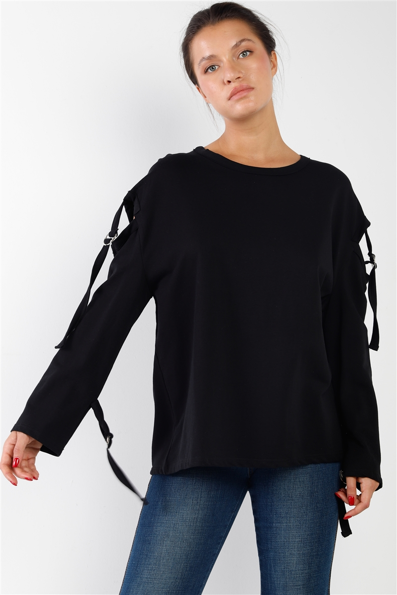 Black Long Sleeve Cut-Out Sweater
