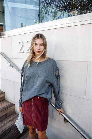 Charcoal Long Sleeve Cut-Out Sweater