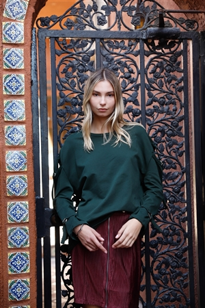 Hunter Green Long Sleeve Cut-Out Sweater
