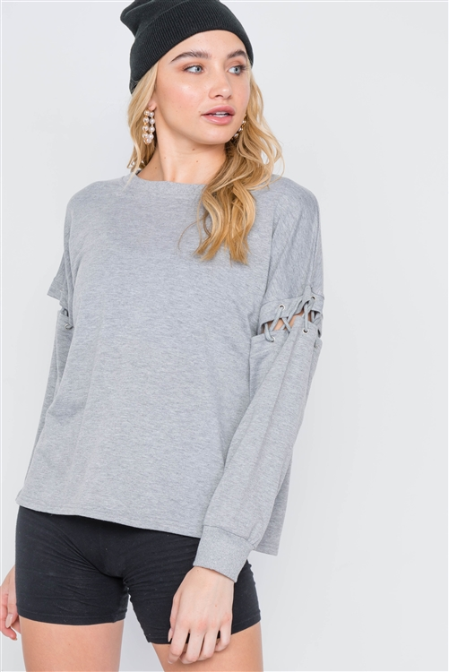 Heather Grey Laced Sleeves Solid Sweater