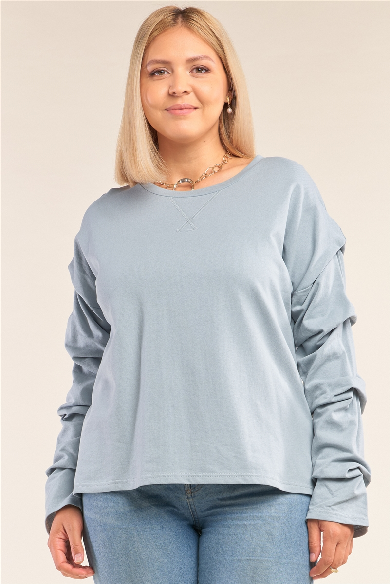 Junior Plus Size Sage Relaxed Fit Crew Neck Long Gathered Sleeve Detail Top /3-2-1
