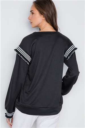 Black Long Sleeve Stripe Trim Sweater