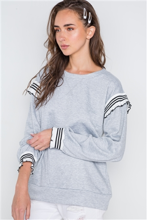 Heather Grey Long Sleeve Stripe Trim Sweater