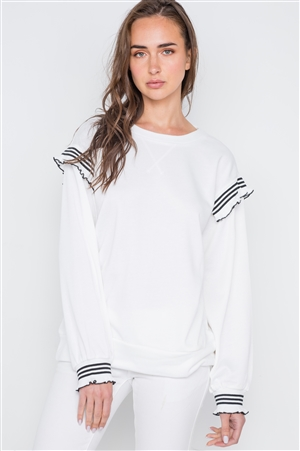 Off White Long Sleeve Stripe Trim Sweater