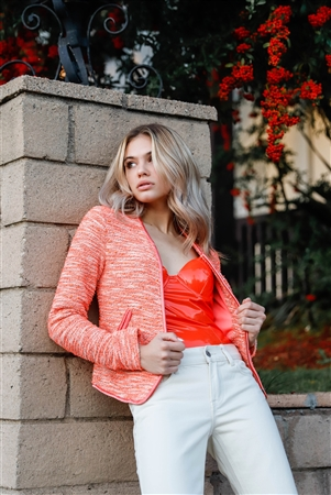 Delicious Orange Vintage Tweed Long Sleeve Front Zip-Up Detail Jacket With Pockets /1-1-2