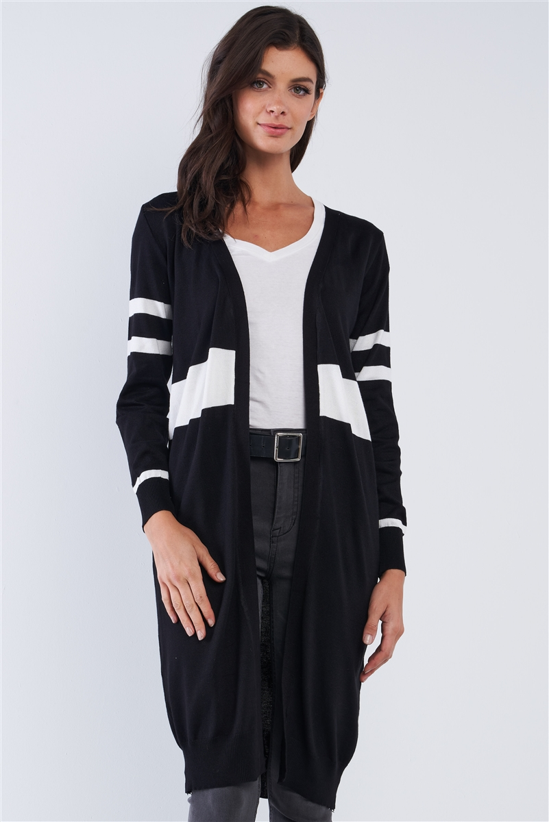 Black Open Stripe Long Sleeve Casual Cardigan