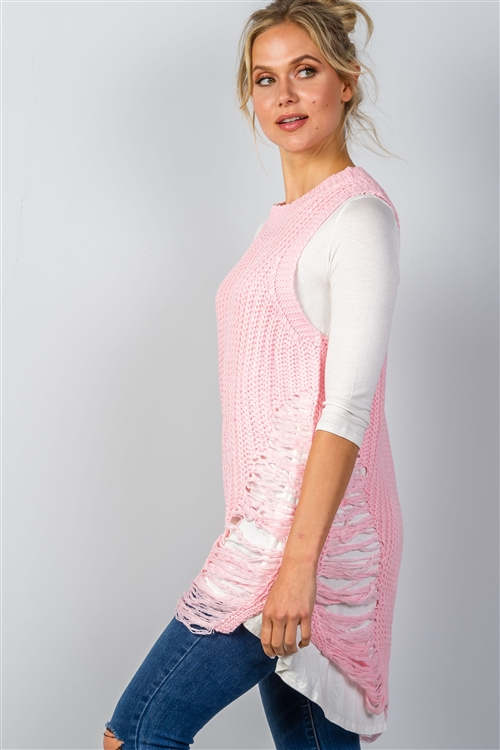 Pink Sleeveless Sweater Knit Distress Sides Dress