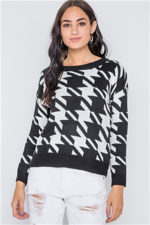 Black Geo Print Color Block Knit Sweater