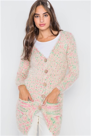 Cream Multi Fuzzy Knit Button-Front Soft Cardigan