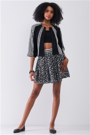 Black & White Floral Print Sporty Striped Elasticized High Waistband Detail Flare Mini Skirt /2-2-1