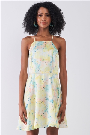 Multicolor Floral Sleeveless Criss-Cross Back Straps Detail Square Neck Mini Dress /1-2-3-1