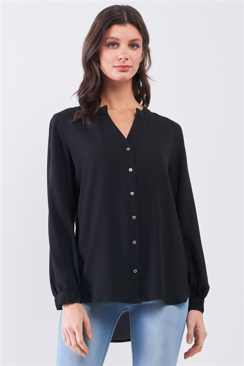 Black Asymmetrical Long Sleeve Button-Up Front Relaxed Shirt